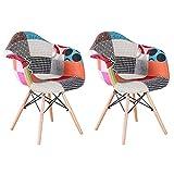 N/C – Juego de 2 sillas de cocina, silla de comedor, asiento de lino, estilo escandinavo, patchwork, color rojo