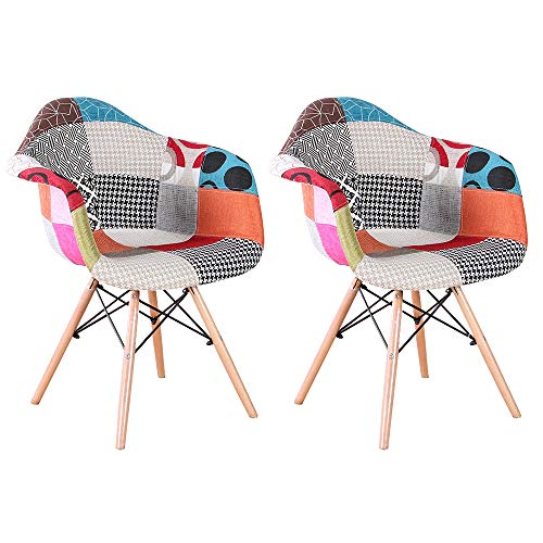 N/C 2 Stück Küchenstuhl Sessel Wohnzimmer Esszimmer Sitz Leinen skandinavischer Stil Patchwork Rot