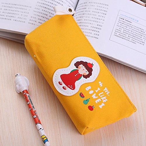 Happy Star® Cute Lovely Filles trousses pour filles Sacs de Cosmétique Make Up Sacs Pen Pouches jaune