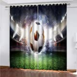 WLHRJ Cortina Opaca en Cocina el Salon dormitorios habitación Infantil 3D Impresión Digital Ojales Cortinas termica - 160x160 cm - Campo de fútbol Deportivo