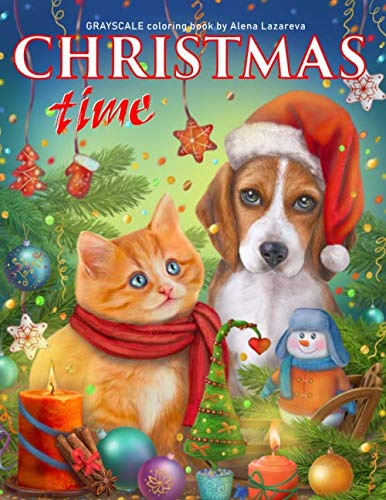 Christmas Time. Grayscale Coloring Book.: Adult Coloring Book.