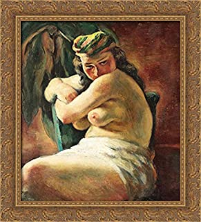 Odalisque 20x22 Gold Ornate Wood Framed Canvas Art by Ion Theodorescu Sion