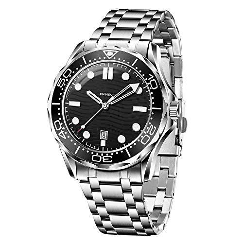 AZPINGPAN Reloj de cuarzo para hombre de negocios de acero inoxidable completo con calendario, 30 m, impermeable, para deportes al aire libre, reloj analógico formal, clásico para hombre
