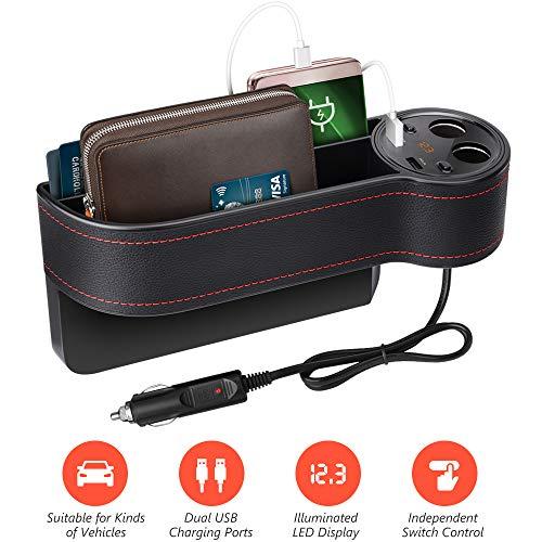 Beusoft Car Seat Gap Filler, Car Seat Organizer, Full Premium PU Leather Multifunctional Car Organizer with 2 Lighters, 2 USB Chargers