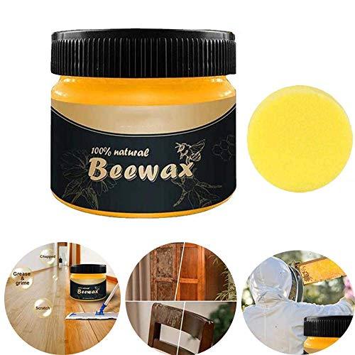 Cera detergente per mobili in cera d'api per stagionatura del legno, cera d'api per la cura dei mobili Polishe, graffi coprenti, ripristino della bellezza naturale del legno (Beeswax + sponge)