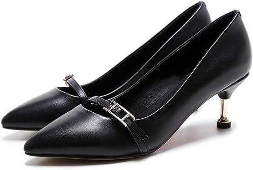 TYAW-Chaussures Femmes Chaussures Bouche Peu Profonde Talons Cuir Velcro Couleur Solide Fait