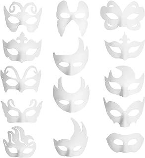 Funhoo 14 pizas Máscaras Blancas en Blanco Papel Mascarada Disfraces Decoración para Bricolaje Pintura Dibujo Arte Artesanal Fiesta Halloween Disfraz Accesorio Niños Mujeres Hombres