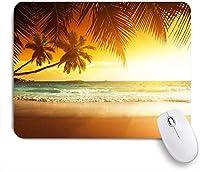 ECOMAOMI 可愛いマウスパッド 波状の海の砂浜と劇的な空のエキゾチックな休暇の上のヤシの木 滑り止めゴムバッキングマウスパッドノートブックコンピュータマウスマット
