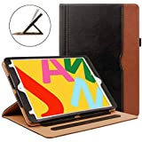 ZoneFoker iPad 6th/5th Generation 9.7 inch 2018/2017 Leather Case,Auto Sleep/Wake 360 Protection Multi-Angle Viewing Folio Stand Cases with Pencil Holder and Card Pocket - Black/Brown
