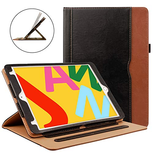ZoneFoker New iPad 7th Generation Tablet Leather Case (10.2-inch,2019 Releases), 360 Protection Multi-Angle Viewing Folio Stand Cases with Pencil Holder for iPad 10.2 7th Gen - Black