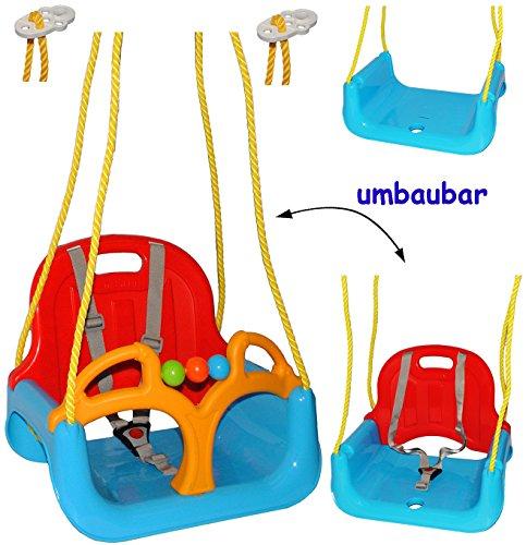 alles-meine.de GmbH mitwachsende - Babyschaukel / Gitterschaukel mit Gurt -  ROT / GELB / BLAU  - Leichter Einstieg ! - mitwachsend & verstellbar - 100 kg belastbar - Kindersch..