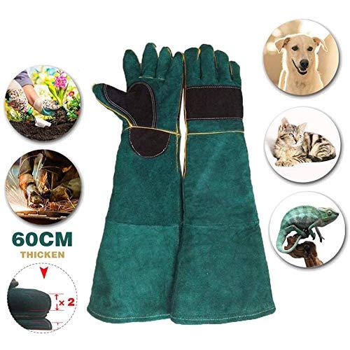 Anti-Biss-Handschuhe Tierhandhabungshandschuhe Bissfeste Rindsleder-Hunde/Katzen/Vögel/Schlangen/Papageien/Eidechsen/Reptilien-Kratzer/Bisse 60 (23,6 Zoll)
