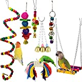 DX Oiseau Cage Jouet, en Bois Suspendu Perroquet Hamac Sepak Takraw Cloche Jouet À Mâcher Convient pour Bird Cage Décoration-7 Pièce