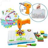 Amy&Benton Juguete con la Herramienta Tornillo, 224 Piezas Tablero de Mosaico Infantiles, Juguetes Montessori con Taladro Eléctrico Desmontable, 3D Bricolaje Puzzles para Niños 3 4 5 6 Años