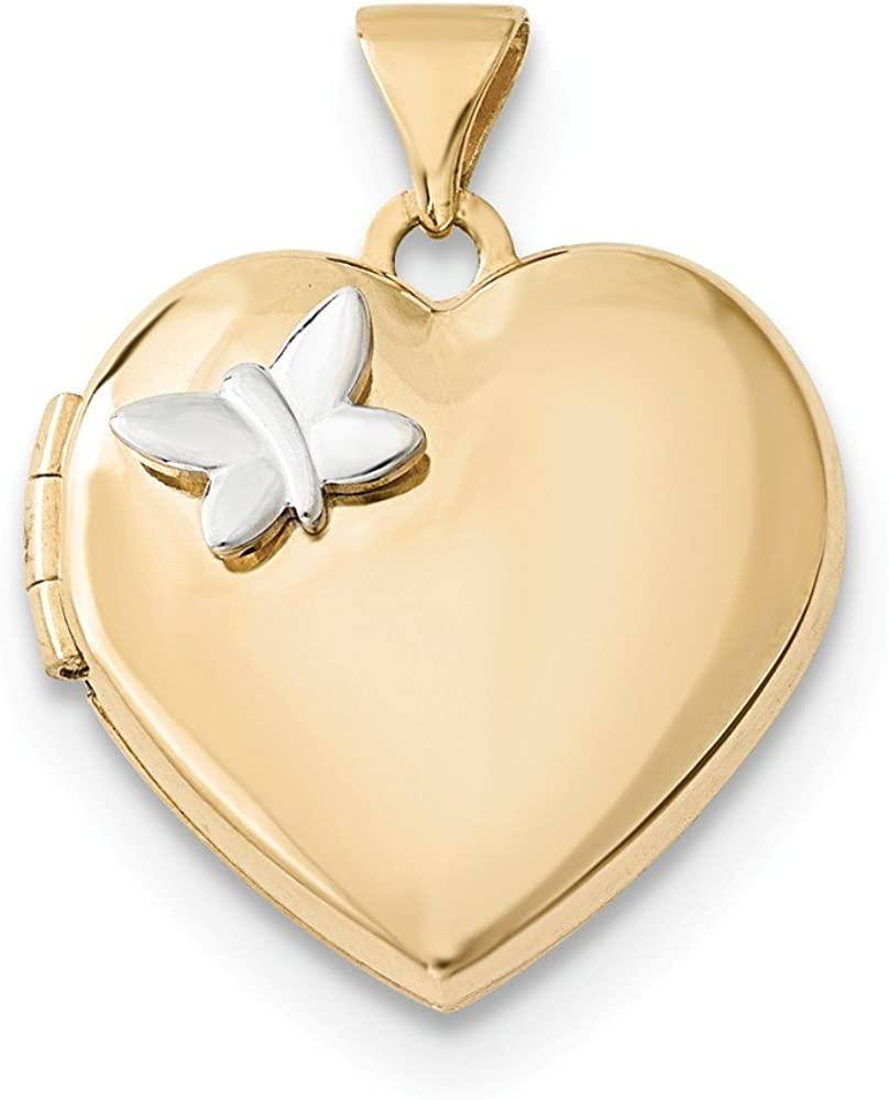 14K Two-Tone Gold 18mm Heart with Butterfly Locket Pendant
