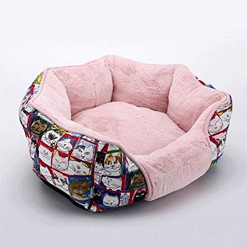 Lujo Cama para perros: cama extraíble y lavable, cama para mascotas sanitaria y antideslizante, cama de perro de lujo para perros pequeños y medianos, rosas (50 × 45 × 15cm) ( Color : Pink )