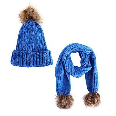 Indeals Children Pompom Scarf+Hat Sets Pure Color Fur Woolen Beanie Warm Shawl Knit Cap Suit