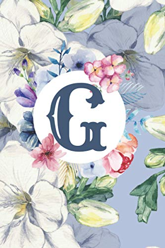 G: Floral Letter G Monogram personalized Journal, baby blue floral notebook, Lined 6x9 inch College Ruled 100 page