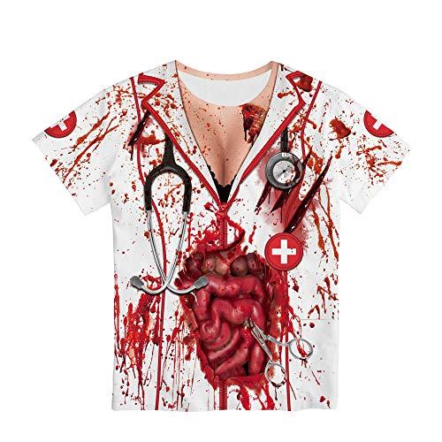 AFASSW Horror Zombie, Halloween Holiday Nurse Zombie Adult Holiday Street Tour, Camiseta para Hombre Summer Funny 3D Cartoon Flame Impreso Manga Corta Cuello Redondo Slim Slim Shirts, Talla Grande, S