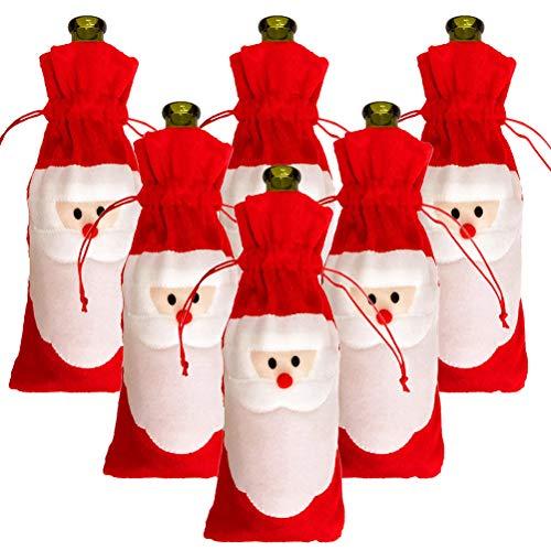 6 bolsas de botella de vino de Navidad para botellas de embalaje con cordón bolsas de envolver para decoración de mesa