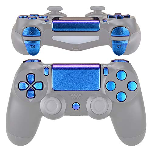eXtremeRate D-pad R1 L1 R2 L2 Trigger Touchpad Action Home Share Options Buttons, Chameleon Purple Blue Full Set Buttons Repair Kits with Tools for Playstation 4 PS4 Slim PS4 Pro CUH-ZCT2 Controller