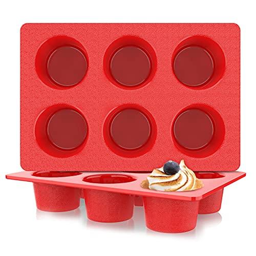 Jumbo Muffin Pan Silicone, European LFGB Cupcake Pan 6 Cups, Non-Stick Deep Cupcake Baking Pan, Silicone Large Muffin Molds, Muffin Tins BPA Free, Set of 2 Red