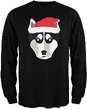 Husky Santa Christmas Black Adult Long Sleeve T-Shirt