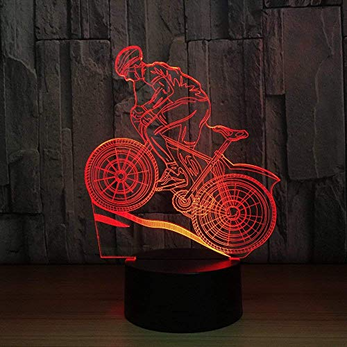 Stereo Light Mountain Bike Rider 3D Night Light 7 Colors Changing Led Desk Table Lamp 3D Illusion Sports Fans Gift for Boyfriend Kids