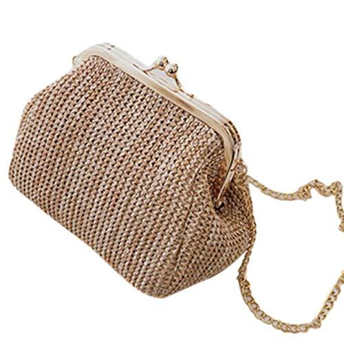 YUWANGO Dames Handtas Messenger Bag Dames Avond Koppeling Tas Gesp Dames Handtas Vrouwelijke Rieten Rattan Dames Messenger Tas