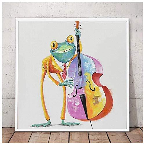 Rana feliz con gafas Póster de arte de pared Pintura de animal de dibujos animados lindo pintado en lienzo Sala de estar moderna Decoración para el hogar Regalo 60x60cm Sin marco