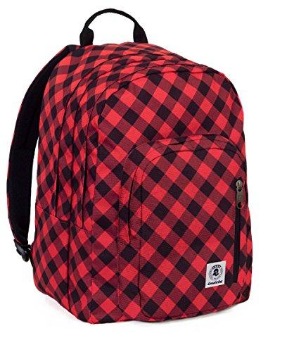 ZAINO INVICTA - FLIP - FANTASY - Nero - Rosso - tasca porta pc e Tablet padded - americano 38 LT