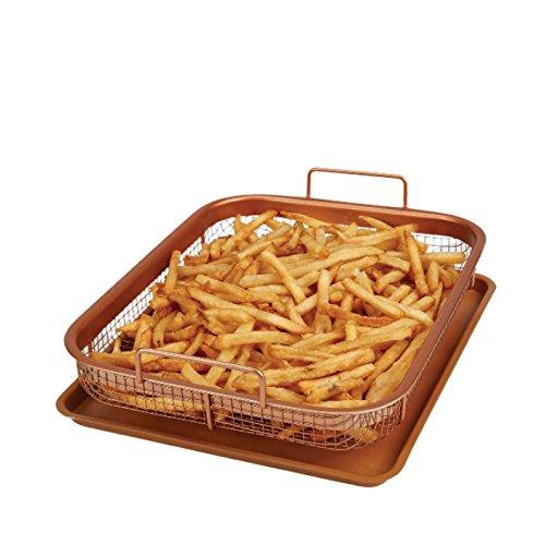 Copper Chef Copper Crisper Non-Stick Oven Baking Tray with Crisping Basket, 34 x 26 x 10 cm, 2 Piece Set