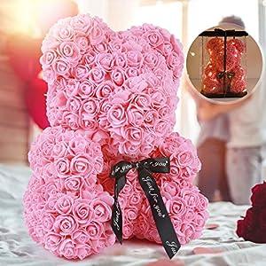 "Silk Flower Arrangements Rose Teddy Bear, Rose Bear Teddy Bear,10"" Flower Bears with Lights,Forever Rose Bear Foam Artificial Flower,Lighted Up Rose Teddy Bear Gift for Valentines Day, Mothers Day,Anniversary"