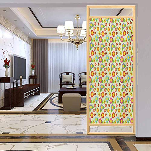 Privacy Home Decor Decorative Stained Glass Window Film, Baby Floral Pattern with Ladybugs and Butterflies Dotte, Home Bathroom Toilet Decorative, W23.6xH47.2 Inch