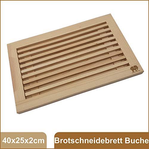 DEKOFANT Brot-Schneidebrett Edelholz mit Krümelfang | Auffangschale und praktischer Krümelrille 42x28x2 cm