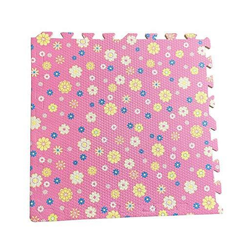 YANGJUN Puzzle Tapis Mousse Bébé Antidérapant Doux Imperméable Protection Facilité Résistant À l'usure Fleur Point De Vague, 7 Couleurs (Color : C, Size : 60x60x1.2cm-4pcs)
