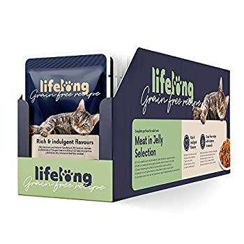 Marque Amazon - Lifelong Nourriture Humide sans céréales pour Chats - canard, poulet, dinde et boeuf en gelée  2.4 kg (28 pochettes x 85g)