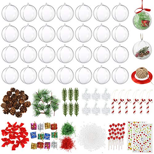 Auihiay 30 Pack 80mm Clear Plastic Ornaments DIY Plastic Fillable Ornament Balls Christmas Tree Hanging Ornaments Baubles for Christmas New Years Present Holiday Wedding Party Home Decor