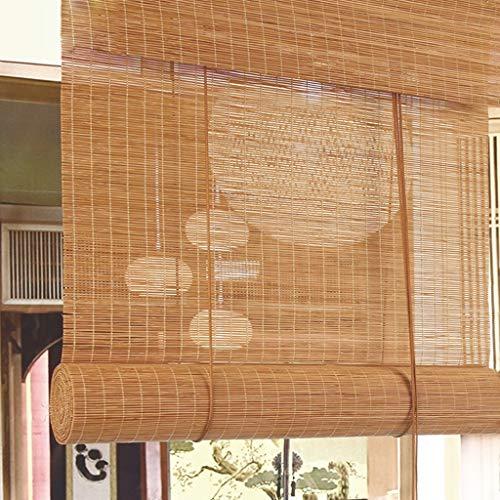 GDF Bamboe blind natuurlijke Romeinse bamboe gordijnen lichtbruin jaloezieën golfvormig rolgordijn 120cm breed zonlicht filteren lichtdoorlatendheid 40% geschikt voor binnen en buiten