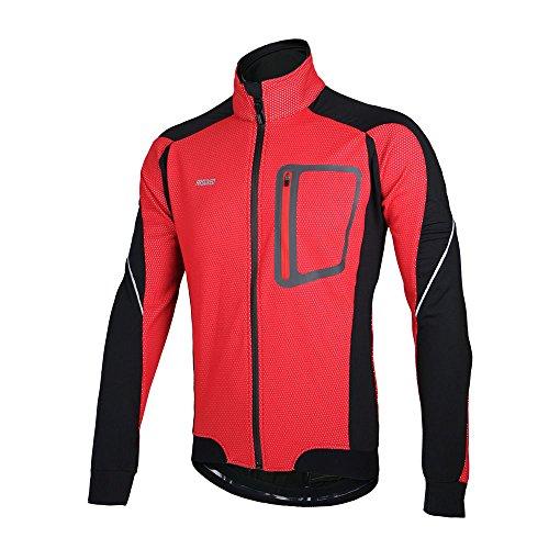 Lixada Montaña Arsuxeo chaqueta de invierno caliente chaqueta de manga larga de ciclismo de luz de bicicleta a prueba de viento de la camiseta de la ropa (Rojo, L)