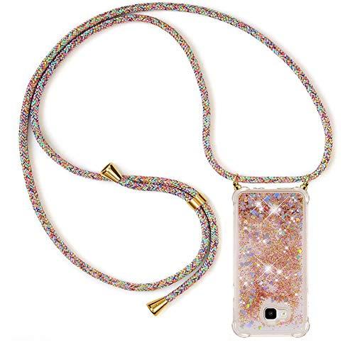 Ptny Case Funda Colgante movil con Cuerda para Colgar Samsung J4 Plus Carcasa Correa Transparente de TPU con Cordon para Llevar en el Cuello con Ajustable Collar Cadena Cordón, Color del Arco IRI