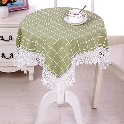 Mantel de mesa de jardín con diseño floral de encaje para mesa de té, longitud de 80 a 190 cm (verde cuadrícula, 100)