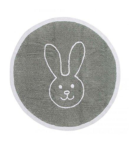 Happy Decor Kids hdk-245 Tapis lavable Round Bunny, gris 140 cm