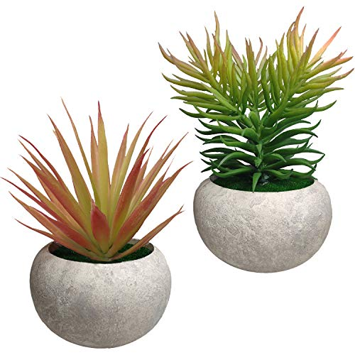 MIXCUTE Mini Artificial Succulent Plants 2 Pack Fake Succulent Plants Potted Faux Red Grass Pine Needles with Pots for House, Farmhouse, Bathroom, Office, Home Decor