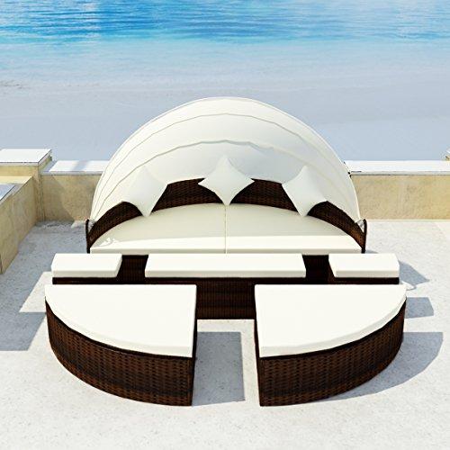 LD Sonneninsel Poly Rattan Lounge Sonnenliege Gartenlounge Gartenliege Sitzgarnitur