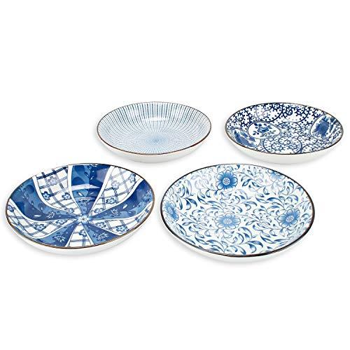 YALONG 7 inch Ceramic Shallow Porcelain Asian Plate Set Assorted Motifs Floral Blue Plates Serving Dinner Bread Butter Dinner Appetizer Salad Dessert Snack Microwave & Dishwasher Safe