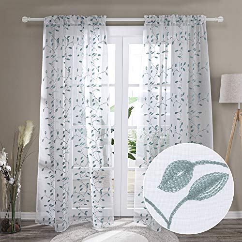 Deconovo White Sheer Curtains 72 Inches Length for Bedroom with Leaves Pattern Floral Voile for Bedroom Kids Room Windows - 2 Panels, Each 52x72 in, Agate Green