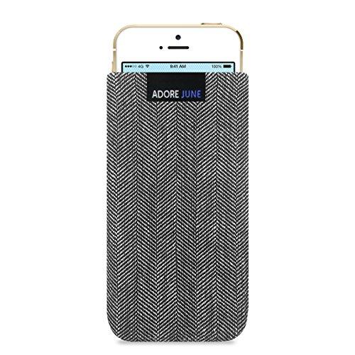 Adore June Business Tasche für Apple iPhone SE/iPhone 5s / iPhone 5 Handytasche aus charakteristischem Fischgrat Stoff - Grau/Schwarz | Schutztasche Zubehör mit Bildschirm Reinigungs-Effekt