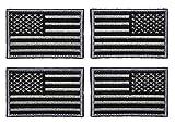Antrix 4 Stück schwarz grau reguläre & umgekehrte amerikanische USA-Flagge bestickt Patch Taktisch Militär United States of America Uniform Emblem Applikation Aufbügler für Rucksäcke, Kappen, Hut