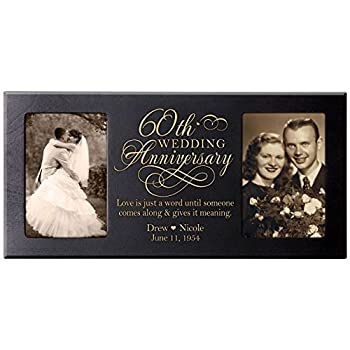 LifeSong Milestones Personalized 60th Anniversary Picture Frame Gift Custom 60 Year Parent Wedding Diamond Ideas 8x16 Holds 2 4x6 Photos  Black